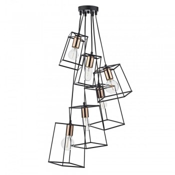 Dar Lighting TOW0622 Tower 6 Light Cluster Pendant Black