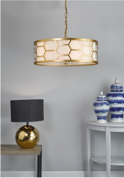 Dar Lighting EPS0412 Epstein 4lt Pendant Gold With Ivory Shade & Frosted Glass Diffuser