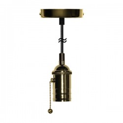 Segula 50516 Pendant Line Brass Atlanta Pull Switch Pendant with Brown Textile Cable