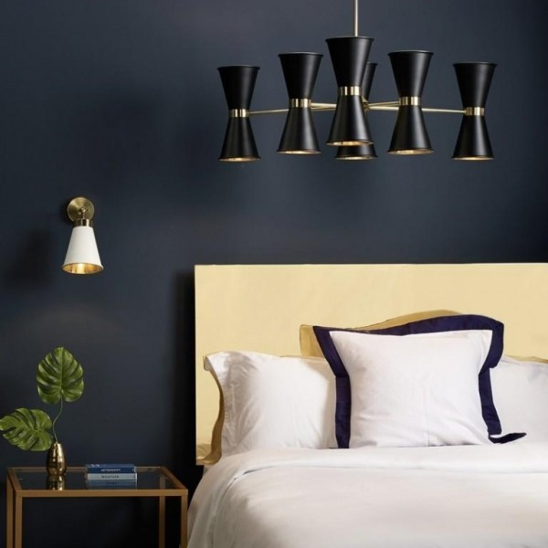David Hunt Hyde HYD12 12 Light Pendant in Polished Brass With Black Metal Shade