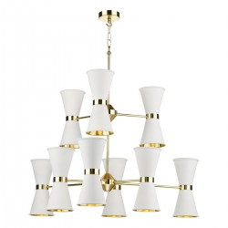 David Hunt Hyde HYD18 18-Light Chandelier Polished Brass in Arctic White