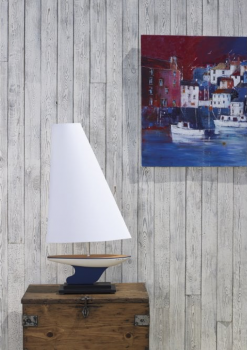 David Hunt YAC4355 Yacht Table Lamp In Blue And White Finish With Sail Shaped Cotton Shade