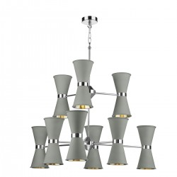 David Hunt Hyde HYD18 18-Light Pendant Polished Chrome in Powder Grey
