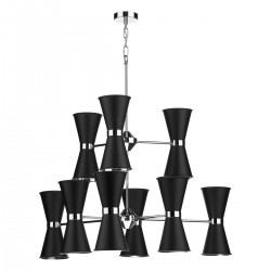 David Hunt Hyde HYD18 18 Light Pendant In Chrome With Black Metal Shades