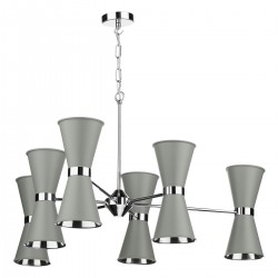 David Hunt HYD12 Hyde 12 Light Pendant In Polished Chrome With Powder Grey Metal Shades