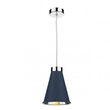 David Hunt HYD01 Hyde Single Pendant In Polished Chrome With Smoke Blue Metal Shade