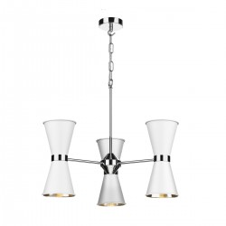 David Hunt HYD06 Hyde 6 Light Pendant In Polished Chrome With Arctic White Metal Shade