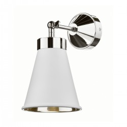 David Hunt HYD07 Hyde Single Wall Light In Polished Chrome With Arctic White Metal Shade