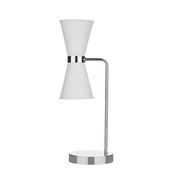 David Hunt HYD42 Hyde Table Lamp Polished Chrome With Arctic White Metal Shade