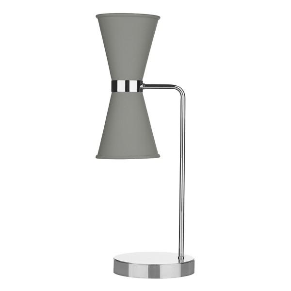 David Hunt HYD42 Hyde Table Lamp Polished Chrome With Powder Grey Metal Shade