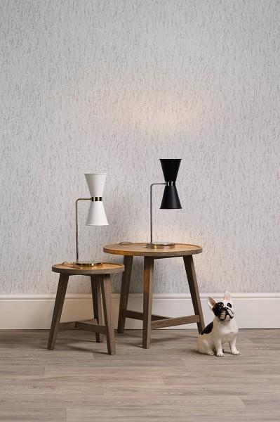 David Hunt HYD42 Hyde Table Lamp Polished Chrome With Smoke Blue Metal Shade