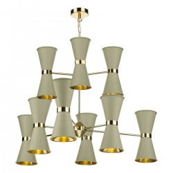 David Hunt HYD182 Hyde 18 Light Pendant Brass With Pebble Metal Shade