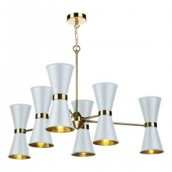 David Hunt HYD12 Hyde 12 Light Pendant Brass With Arctic White Metal Shade