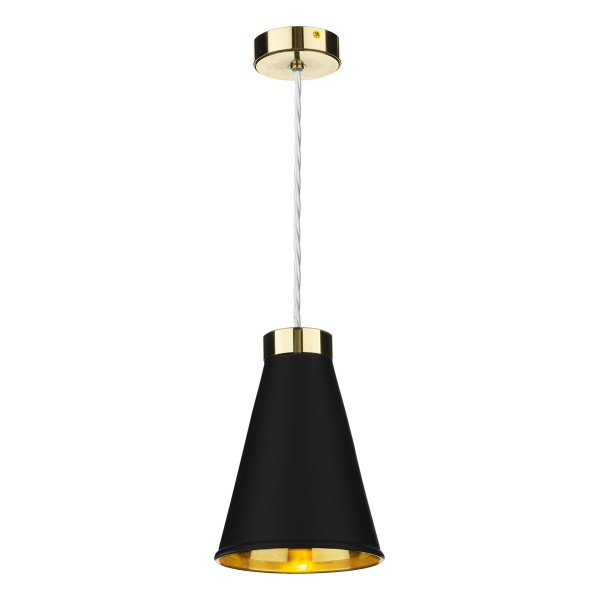 David Hunt HYD01 Hyde 1 Light Pendant Brass Comes With Black Metal Shade