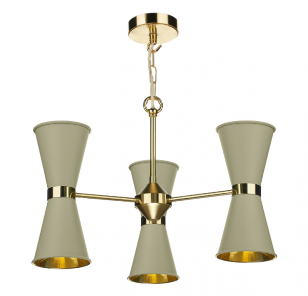 David Hunt HYD06 Hyde 6 Light Pendant Polished Brass Comes With Pebble Metal Shade