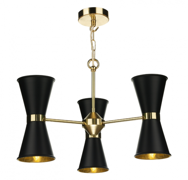David Hunt HYD06 Hyde 6 Light Pendant Polished Brass in Black