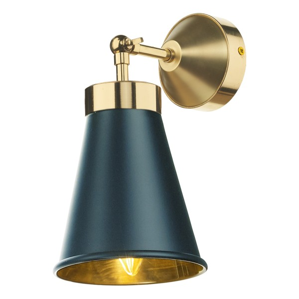 David Hunt HYD07 Hyde Single Wall Light Polished Brass Comes With Smoke Blue Metal Shade