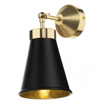 David Hunt HYD0722 Hyde Single Wall Light Polished Brass Comes With Black Metal Shade
