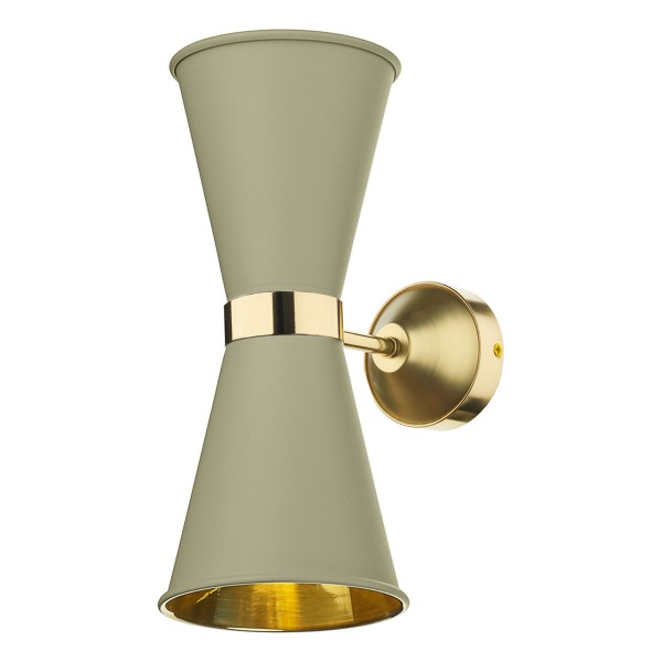 David Hunt HYD09 Hyde Double Wall Light Polished Brass Comes With Pebble Metal Shade