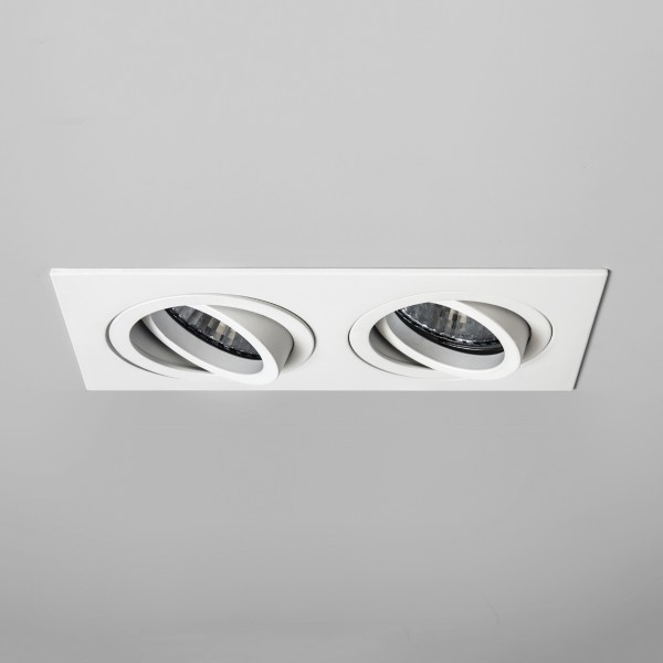 Astro Taro Twin GU10 White Fire-Rated Adjustable Downlight