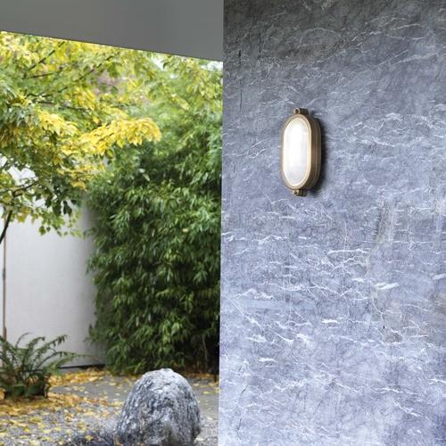 Astro Malibu Coastal Oval Antique Brass Outdoor Wall Light