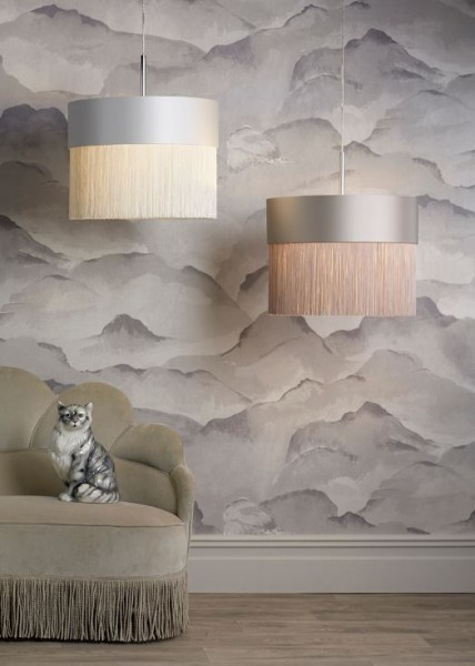 The Light Shade Studio GAT5019-SI-F39 Gatsby Fringe Pendant Shade Cloud/Silver