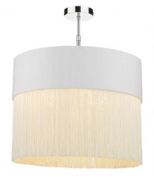 The Light Shade Studio GAT5015-GD-F15 Gatsby Fringe Pendant Shade Ivory/Gold