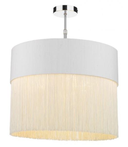 The Light Shade Studio GAT5015-GD-F15 Gatsby Fringe Pendant Shade Ivory/Gold