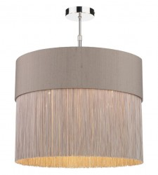 The Light Shade Studio GAT5072-BZ-F39 Gatsby Fringe Pendant Shade Truffle/Bronze
