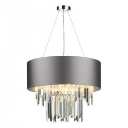 The Light Shade Studio HUR0650-21-SI Hurley 6 Light Shaded Chandelier Graphite/Silver