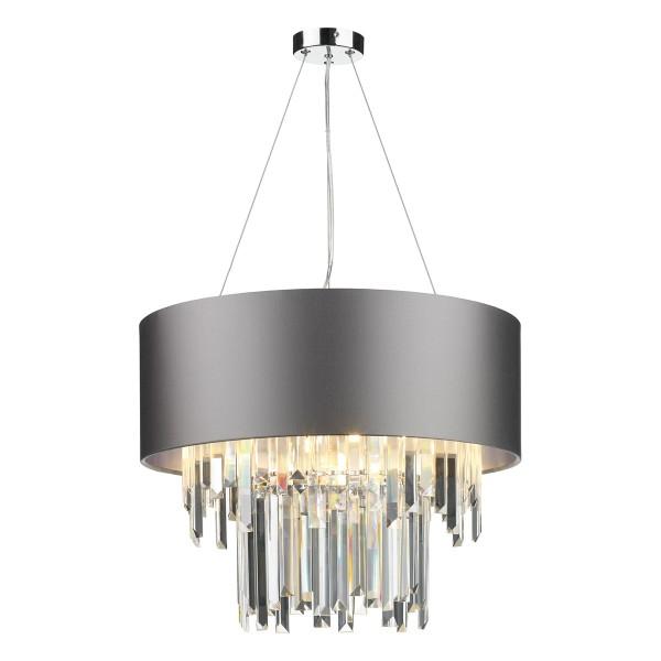 The Light Shade Studio HUR0650-21-SI Hurley 6 Light Shaded Chandelier Graphite/Silver