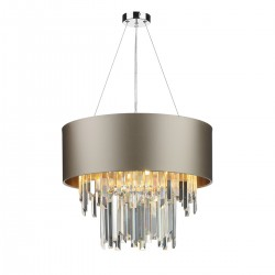 The Light Shade Studio HUR0650-18-BZ Hurley 6 Light Shaded Chandelier Almond Cream/Bronze
