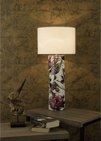 Dar Lighting ELA4203 Elana Ceramic Table Lamp Tropical Print Base Only