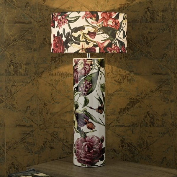 Dar Lighting ELA4203 Elana Ceramic Table Lamp Tropical Print Base Only