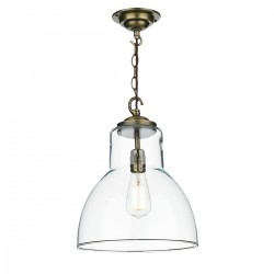 David Hunt UPT0175 Upton Antique Brass Glass Pendant