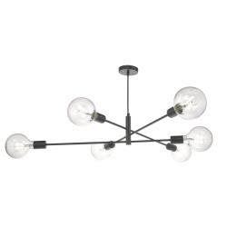 Dar Lighting ALA0622 Black 6 Light Pendant