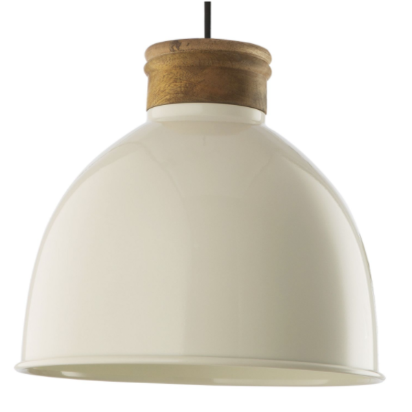Dar Lighting APH8833 Aphra 1 Light Pendant in Gloss Cream