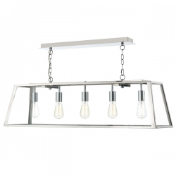 Dar Lighting ACA0544 Academy 5 Light Pendant in Stainless Steel