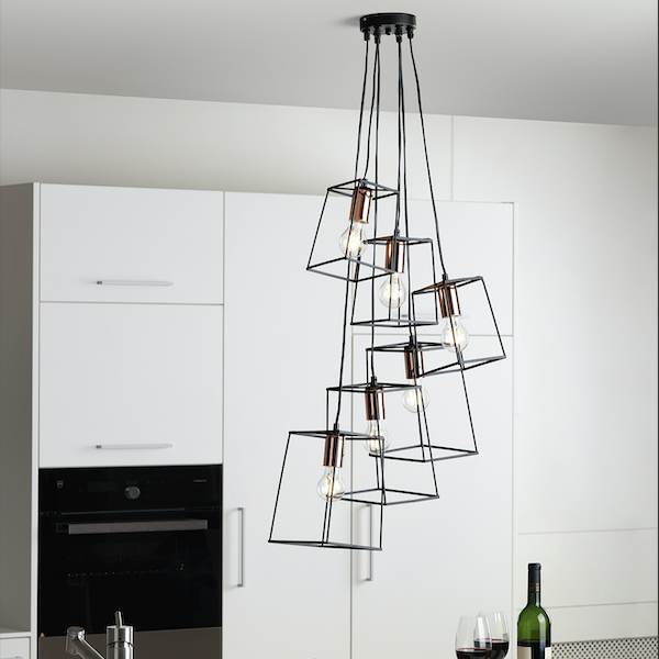Dar Lighting TOW0622 Tower 6 Light Cluster Pendant in Black and Copper