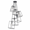Dar Lighting TOW0650 Tower 6 Light Pendant in Black and Polished Chrome