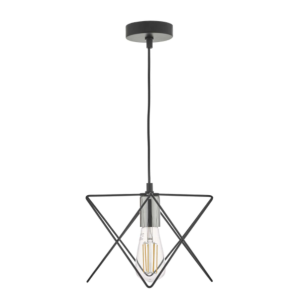 Dar Lighting MID0150 Midi 1 Light Pendant in Black and Chrome