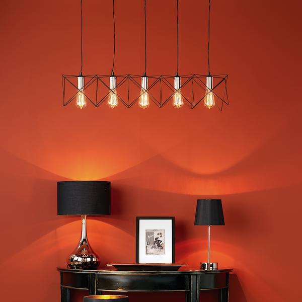 Dar Lighting MID0522 Midi 5 Light Bar Pendant in Black and  Copper