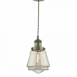 Dar Lighting CUR0175 Curtis 1 Light Pendant Antique Brass and Champagne Glass