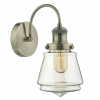 Dar Lighting CUR0775 Curtis Wall Light Antique Brass & Champagne Glass
