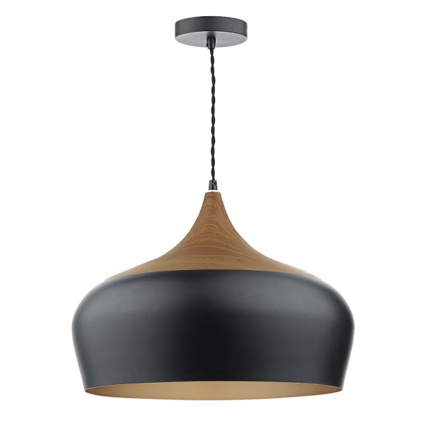 Dar Lighting GAU8622 Gaucho 1 Light Pendant Black Large
