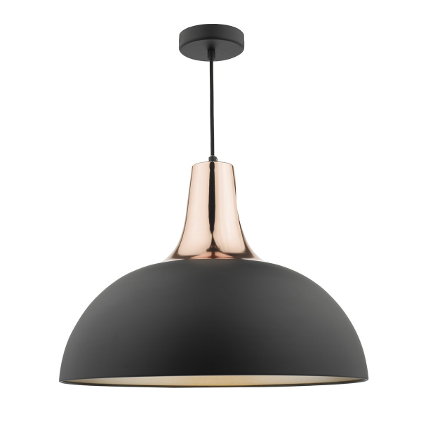 Dar Lighting TOR0154 Toronto Pendant Matt Black & Copper