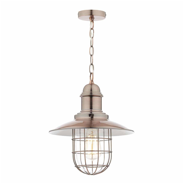 Dar Lighting TER0164 Terrace 1 Light Pendant Copper