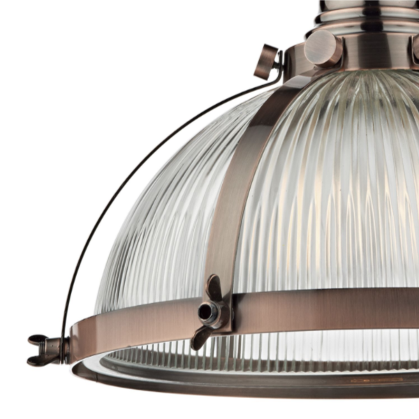 Dar Lighting DEB0164 Debut 1 Light Pendant Brushed Copper Antique