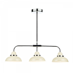 Dar Lighting DYN0333 Dynamo 3 Light Bar Pendant Cream and Polished Chrome