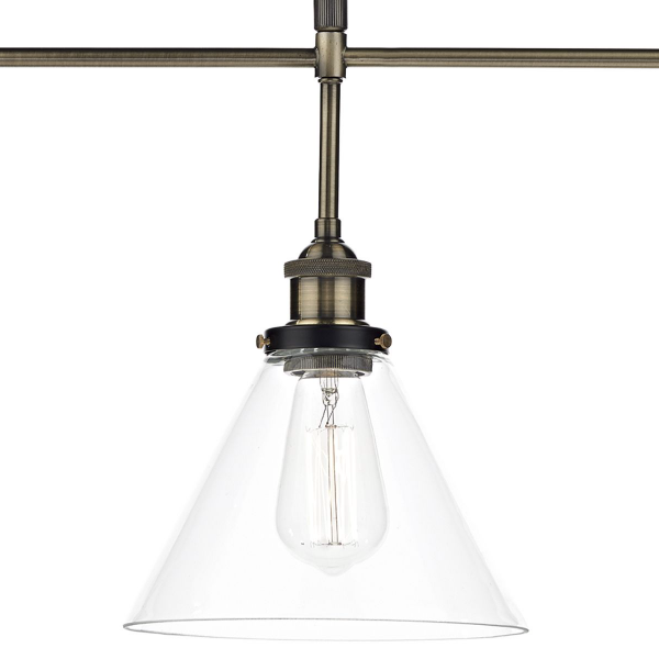 Dar Lighting RAY0375 Ray 3 Light Pendant Antique Brass Clear